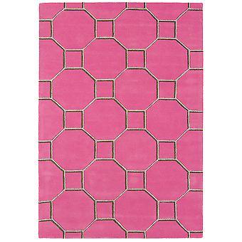 Matrix Pink Trellis Wool  Viscose Modern Rug