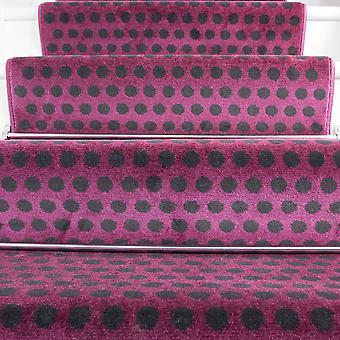 60cm Width - Modern Polka Dots Purple Stair Carpet