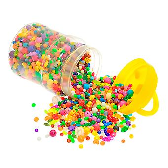 Bucket of Over 2500 Assorted Plastic Beads for Kids Crafts