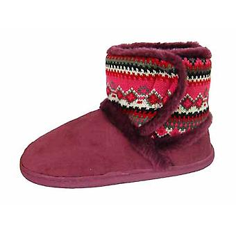 New Ladies Cooler Fairisle Microsuede Slippers Fluffy Warm Ankle Snugg Boot W178