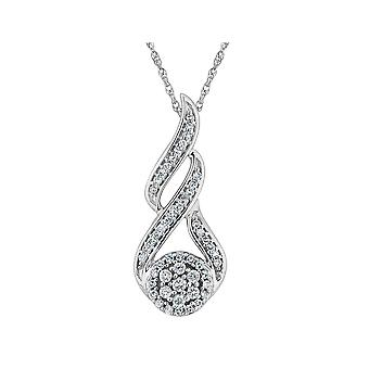 Diamond Pendant Necklace 1/4 Carat (ctw) in 10K White Gold with Chain