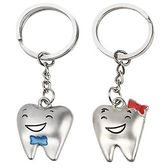 TRIXES Silver His and Hers Teeth Keyrings