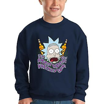 Rick And Morty Lets Get Riggity Wrecked Son Kid's Sweatshirt