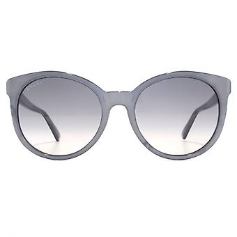 Gucci GG Logo Round Cateye Sunglasses In Grey Marble Effect