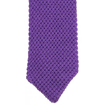 KJ Beckett Plain Wool Pointy Tie - Purple