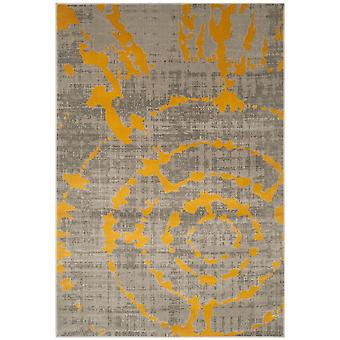 Short-pile woven rug living room indoor carpet grey yellow indoor rugs - Pacific abstract grey Yellow 92 / 152 cm - rug for the living room inside