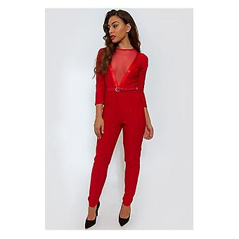 The Fashion Bible Dior Mesh Red Playsuit