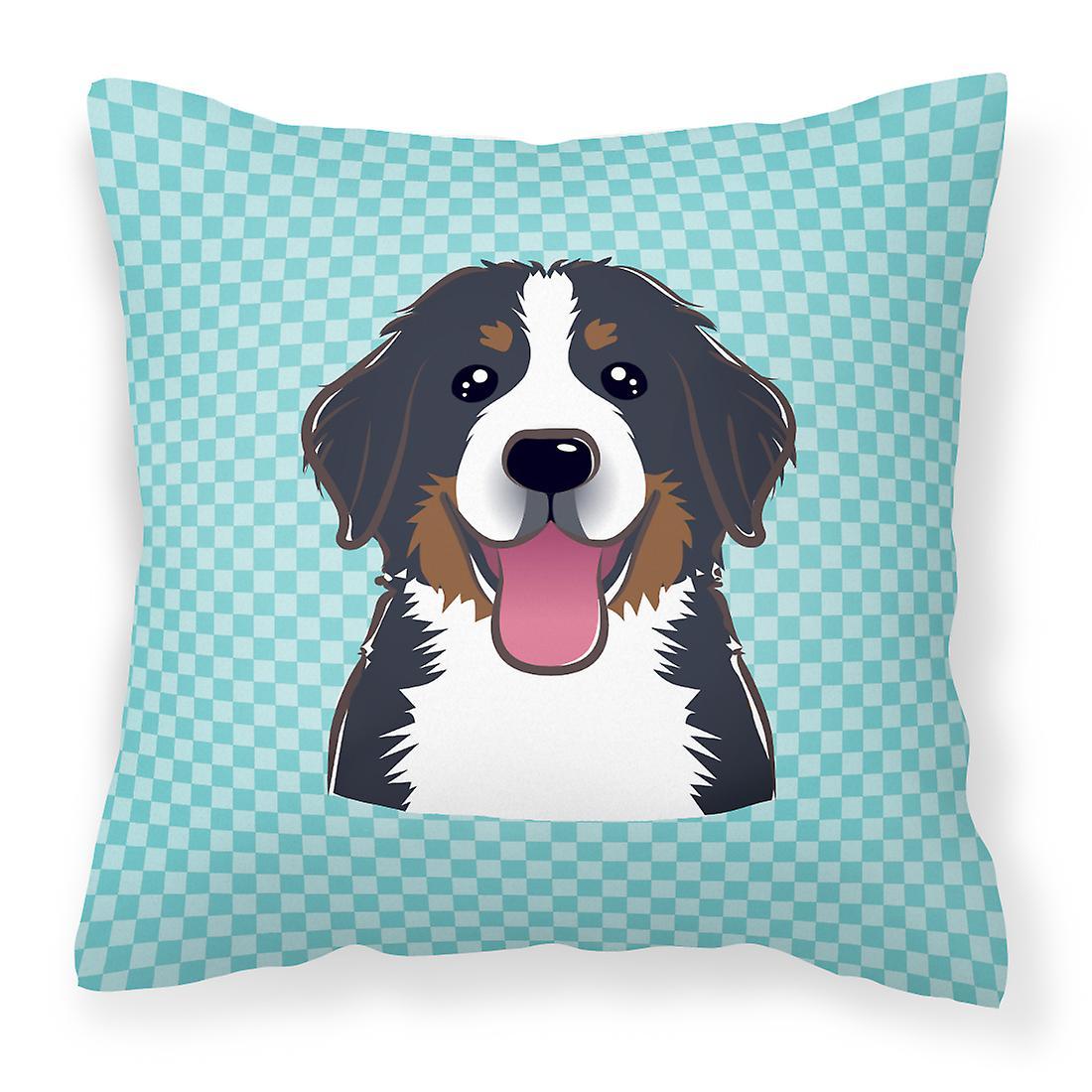 Damier bleu Bernese Mountain Dog toile tissu oreiller décoratif