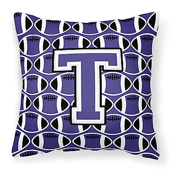 Letter T Football Purple and White Fabric Decorative Pillow