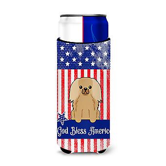 Patriotic USA Pekingnese Fawn Sable Michelob Ultra Hugger for slim cans