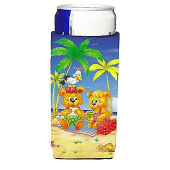 Teddybären Picknick am Strand Michelob Ultra Getränke-Isolatoren für schlanke Dosen