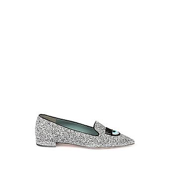 Chiara Ferragni women's CF1618 silver leather moccasins