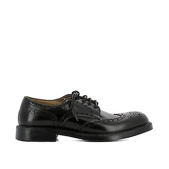 Green George men's 8005BLACK black leather lace-up shoes