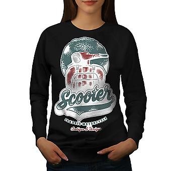 Scooter Classic Old Biker Women BlackSweatshirt | Wellcoda