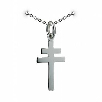 Silver 20x17mm plain Cross of Lorraine with a rolo Chain 14 inches Only Suitable for Children