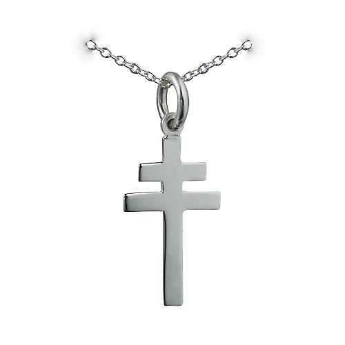 Silver 20x17mm plain Cross of Lorraine with a rolo Chain 18 inches