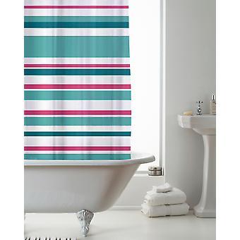 Rideau de douche Country Club Stripe Bright Teal et rose 180 x 180cm