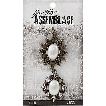 Tim Holtz Assemblage Charms 2/Pkg-Oval Pearl Frames THA20024