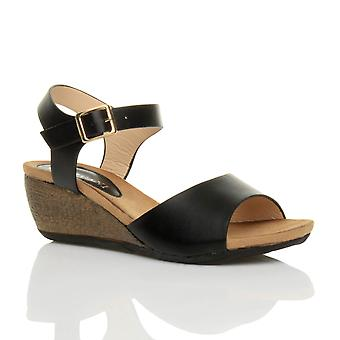 Ajvani womens piattaforma metà tacco zeppa lavoro intelligente peep toe scarpe sandali