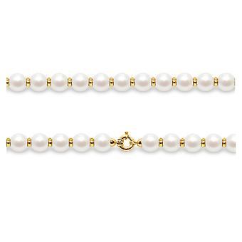 Necklace in white cultured pearls and pearls in gold yellow 750/1000