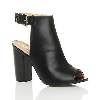 Ajvani женские блок высокой пятки заглянуть ног лодыжки ремень пряжки открытым обратно вырезать лодыжки сапоги обувь
