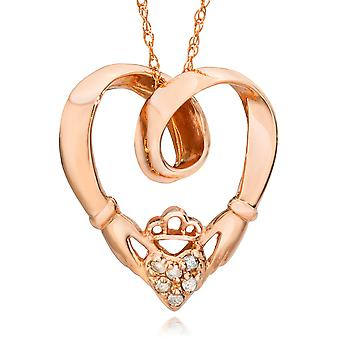 Claddagh diamant vedhæng 14K Rose Gold