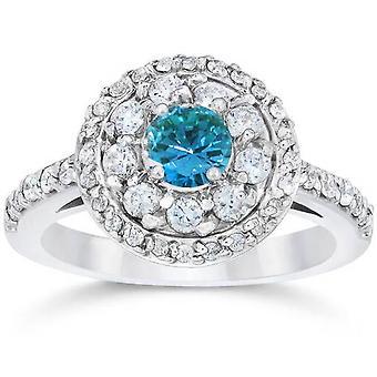 1 5/8ct Blue Diamond Double Halo Vintage Engagement Ring 14K White Gold