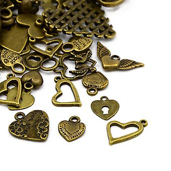 Packet 30 Grams Antique Bronze Tibetan 5-40mm Heart Charm/Pendant Mix HA07495