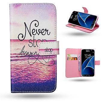 Samsung Galaxy S7 Edge-Case/Wallet Leather-Never Stop Dream