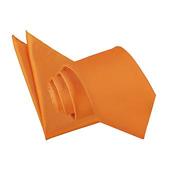 Celosia Orange solide Check Krawatte & Einstecktuch Satz
