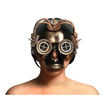Spiked Steampunk Skull Mask w/Tubes Gears & Goggles