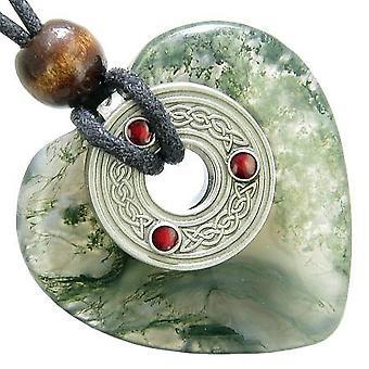 Celtic Triquetra Knot Protection Amulet Green Moss Agate Heart Pendant Necklace