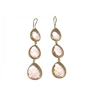 Gemshine - CANDY - Rose Quartz - pink - gold plated ladies - earrings - 925 Silver - - drop - 9 cm