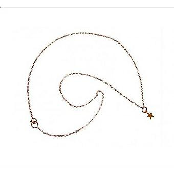 Ladies - necklace - 925 Silver - gold plated star - 45 cm