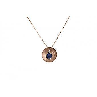 Damen - Halskette - Anhänger - 925 Silber - Rose Vergoldet - SCHALE - Saphir - Blau - 45 cm