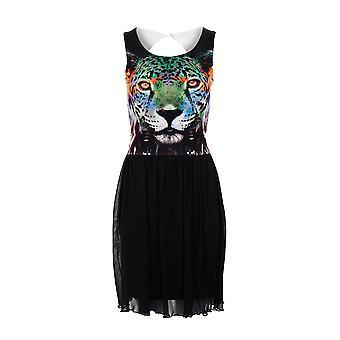New Ladies Tiger Print Skater Mesh Lined Cutout Back Women's Dress