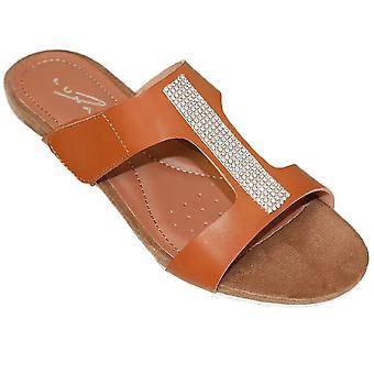 JLH707 Angel Ladies Glitter Diamante Slip On Mule Fashion Small Wedge Sandals
