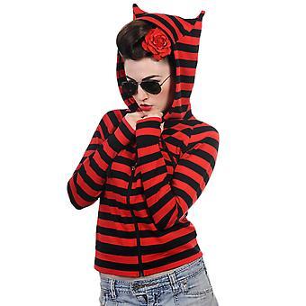 Dancing Days Black & Red Cat Ears Striped Hoodie M