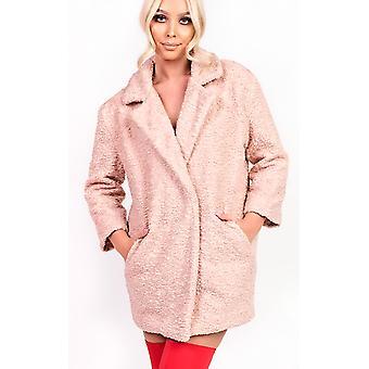 IKRUSH Womens Kayli Boucle Collar Button Coat