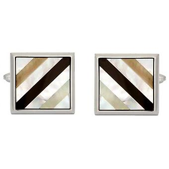 David Van Hagen Rhodium Plated Mother of Pearl and Onyx Striped Square Cufflinks - White/Black/Silver