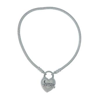 PANDORA Moments Smooth Silver Padlock Bracelet - You Are Loved Heart 925 Sterling Silver - 20cm