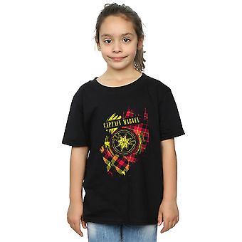 Marvel jenter Captain Marvel Tartan Patch t-skjorte