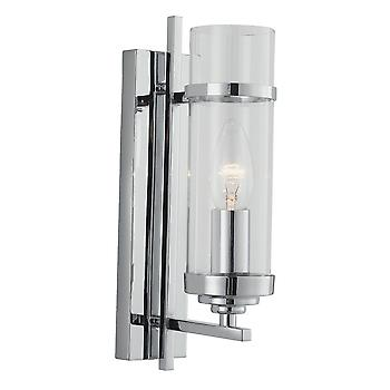 Searchlight 3091-1CC Milo 1 Light Modern Chrome And Glass Wall Lamp