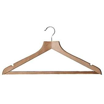 Caraselle Shaped Solid Beech Suit Hanger w. Non-Slip Trouser Bar -44cm
