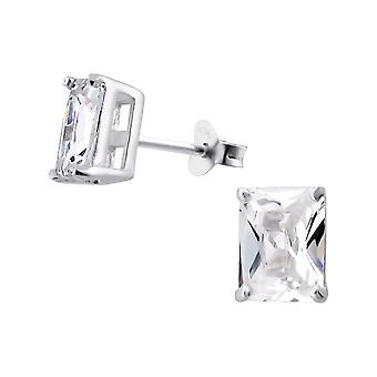 Rectangle - 925 Sterling Silver Classic Ear Studs - W1017X