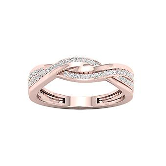 IGI Certified DeCouer 1/6Ct TDW 10k Rose Gold Diamond Ribbon Crossover Ring (H-I, I2)