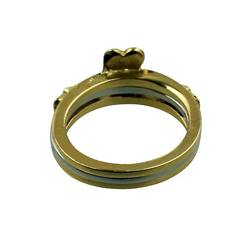 9ct Gold 15mm 3 piece Claddagh Ring Size Q