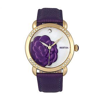 Bertha Daphne MOP Leather-Band Ladies Watch - Purple/White