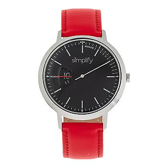 Simplify The 6500 Leather-Band Watch - Red/Black