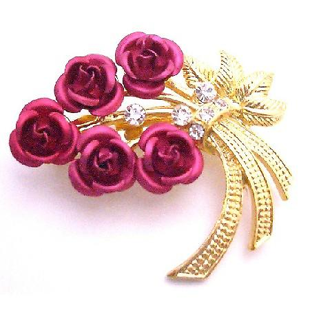 Red Rose Metal Brooch Valentine Gift Cake Brooch Pin Gold Stem & Leaf
